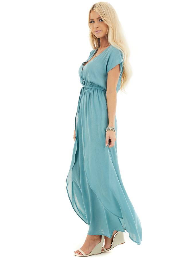 Teal Surplice Style Maxi Dress with Overlay and Side Slits side full body