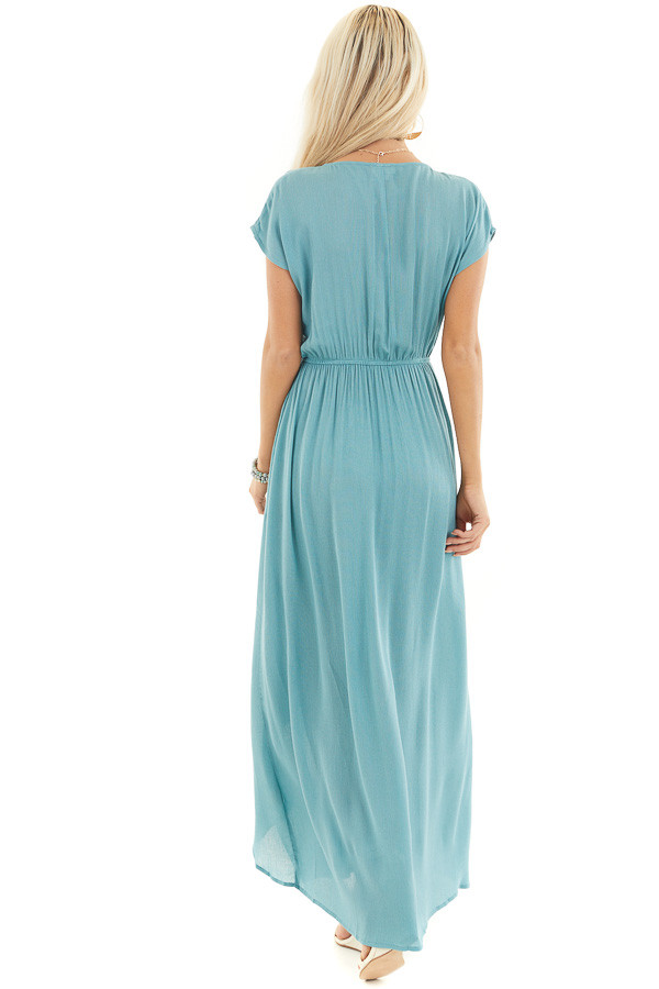 Teal Surplice Style Maxi Dress with Overlay and Side Slits back full body