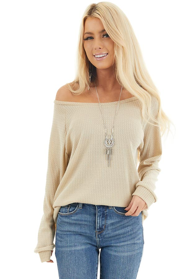 Oatmeal Long Sleeve Waffle Knit Off the Shoulder Top front close up