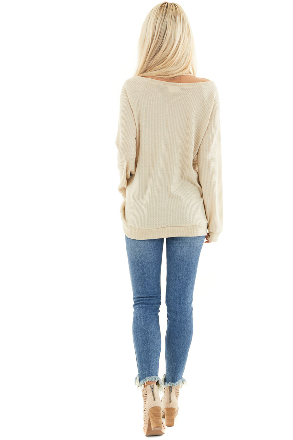 Oatmeal Long Sleeve Waffle Knit Off the Shoulder Top back full body