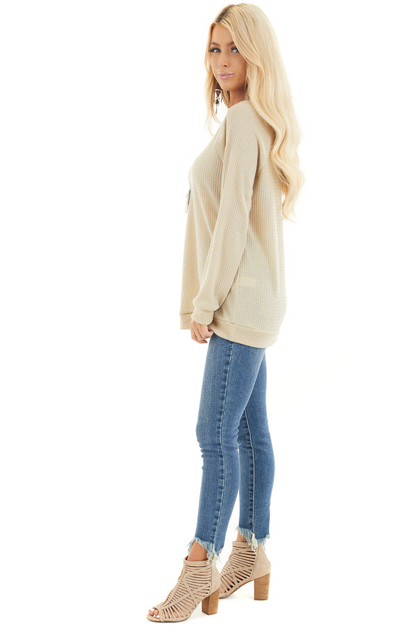 Oatmeal Long Sleeve Waffle Knit Off the Shoulder Top side full body