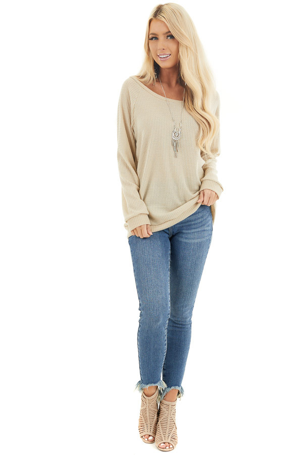 Oatmeal Long Sleeve Waffle Knit Off the Shoulder Top front full body