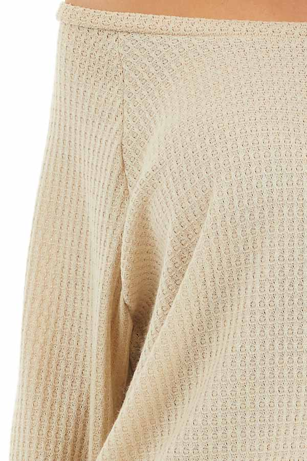 Oatmeal Long Sleeve Waffle Knit Off the Shoulder Top detail