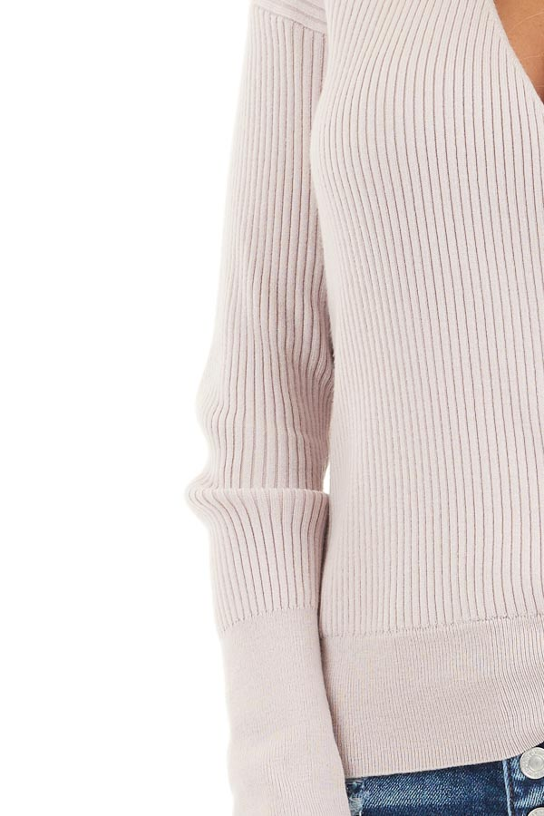 Blush Ribbed Surplice Sweater Top with Deep V Neckline detail