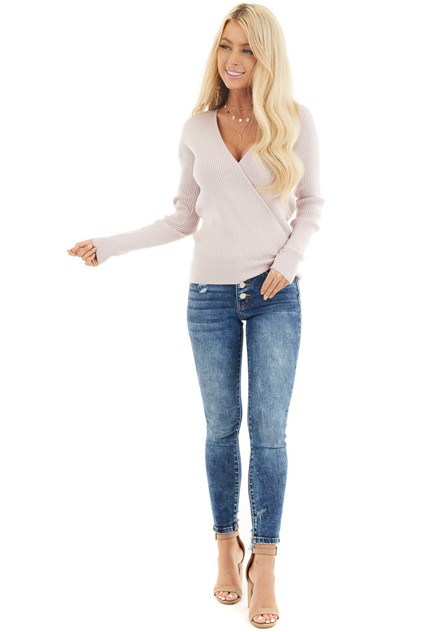 Blush Ribbed Surplice Sweater Top with Deep V Neckline front full body