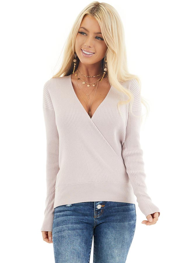 Blush Ribbed Surplice Sweater Top with Deep V Neckline front close up
