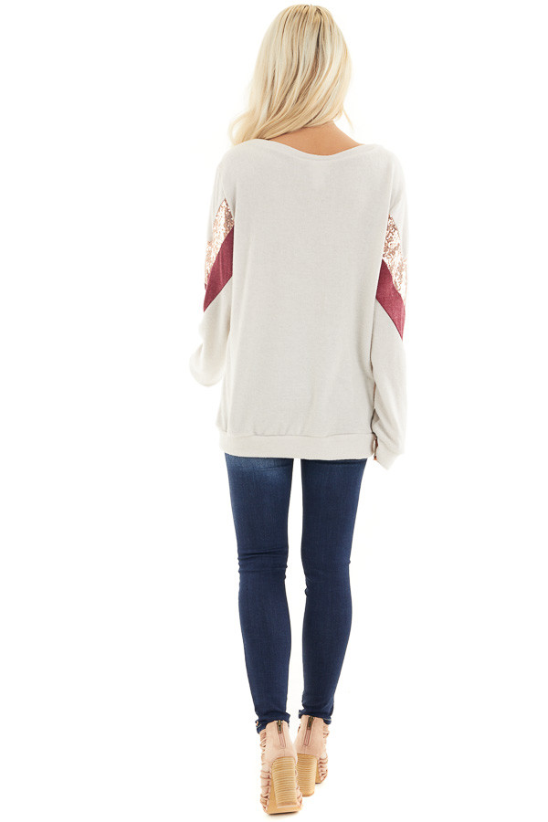 Cream Soft Knit Long Sleeve Color Block Top back full body