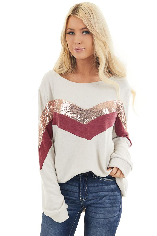 Cream Soft Knit Long Sleeve Color Block Top front close up