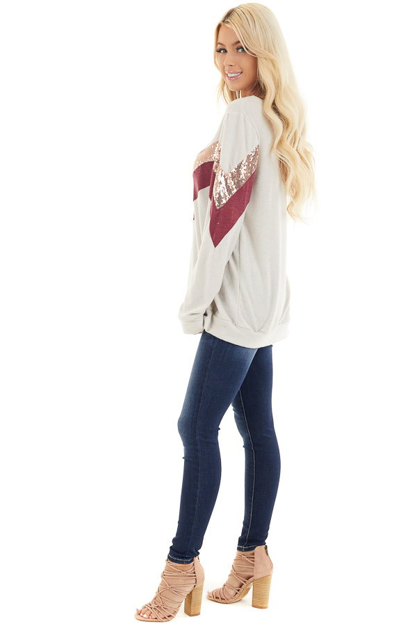 Cream Soft Knit Long Sleeve Color Block Top side full body