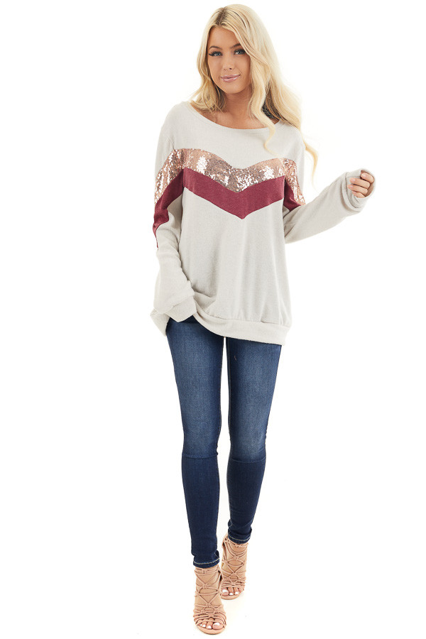 Cream Soft Knit Long Sleeve Color Block Top front full body