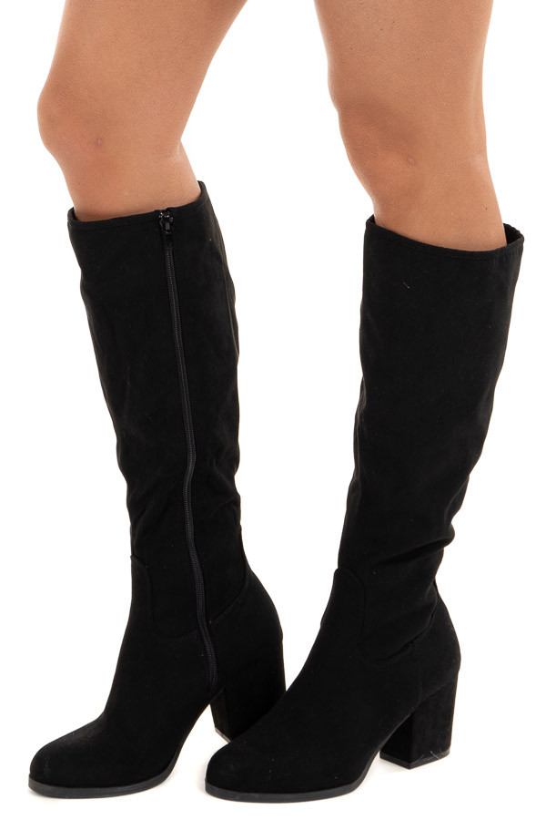 Black Rounded Toe Chunky Heel Knee High Boots side view
