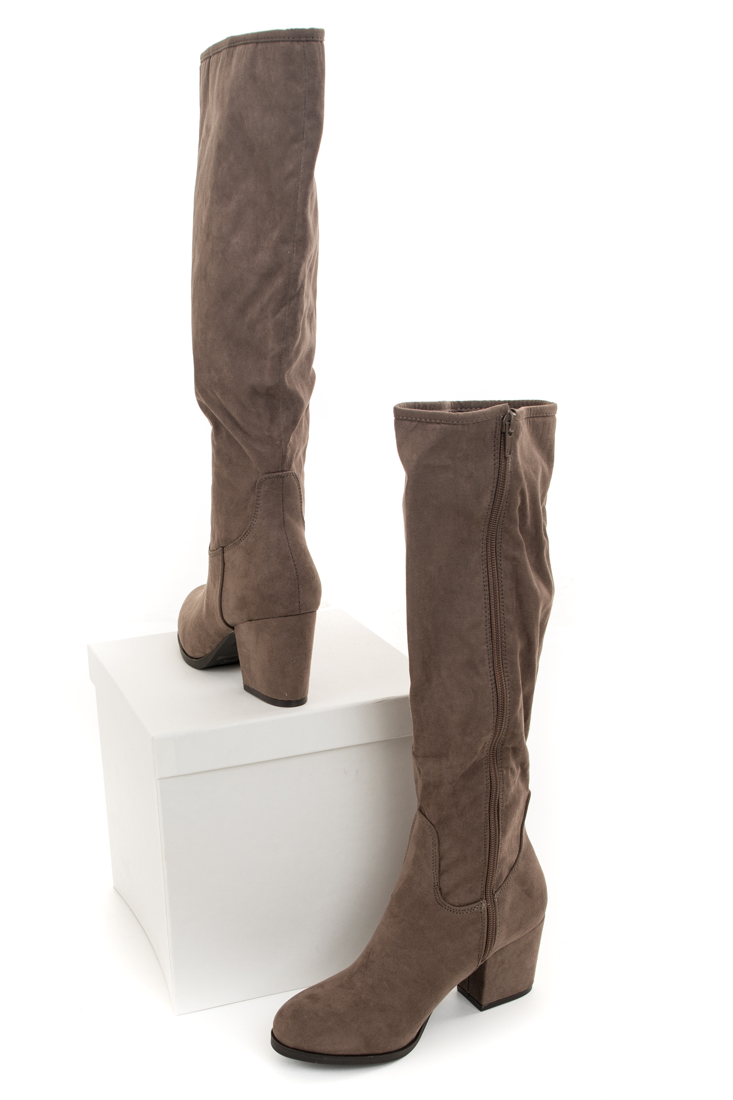 Taupe Rounded Toe Chunky Heel Knee High Boots