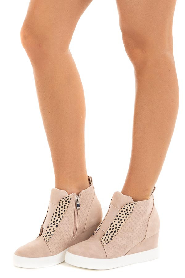 Blush and Cheetah Print Faux Suede Wedge Sneaker side view