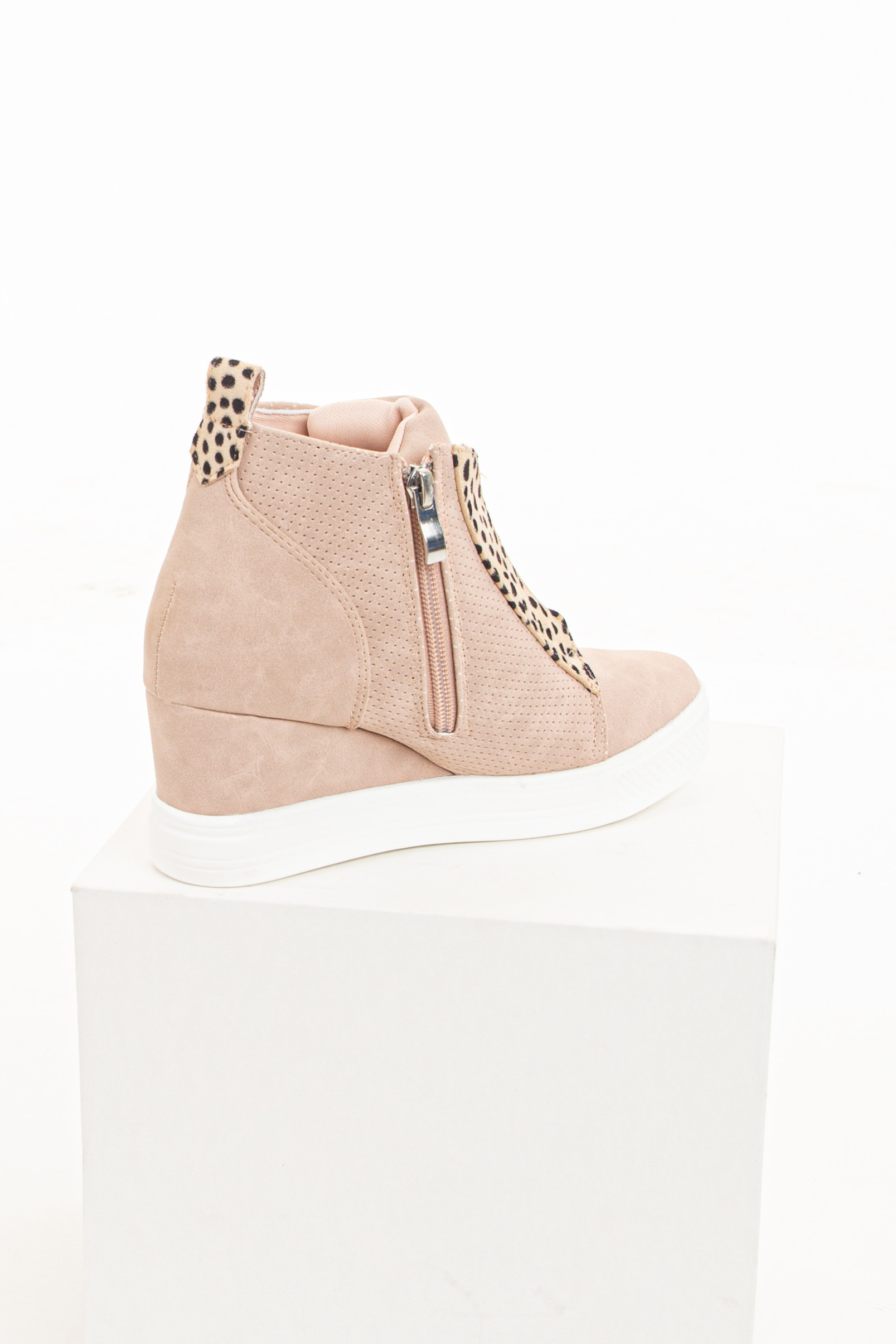 Blush and Cheetah Print Faux Suede Wedge Sneaker