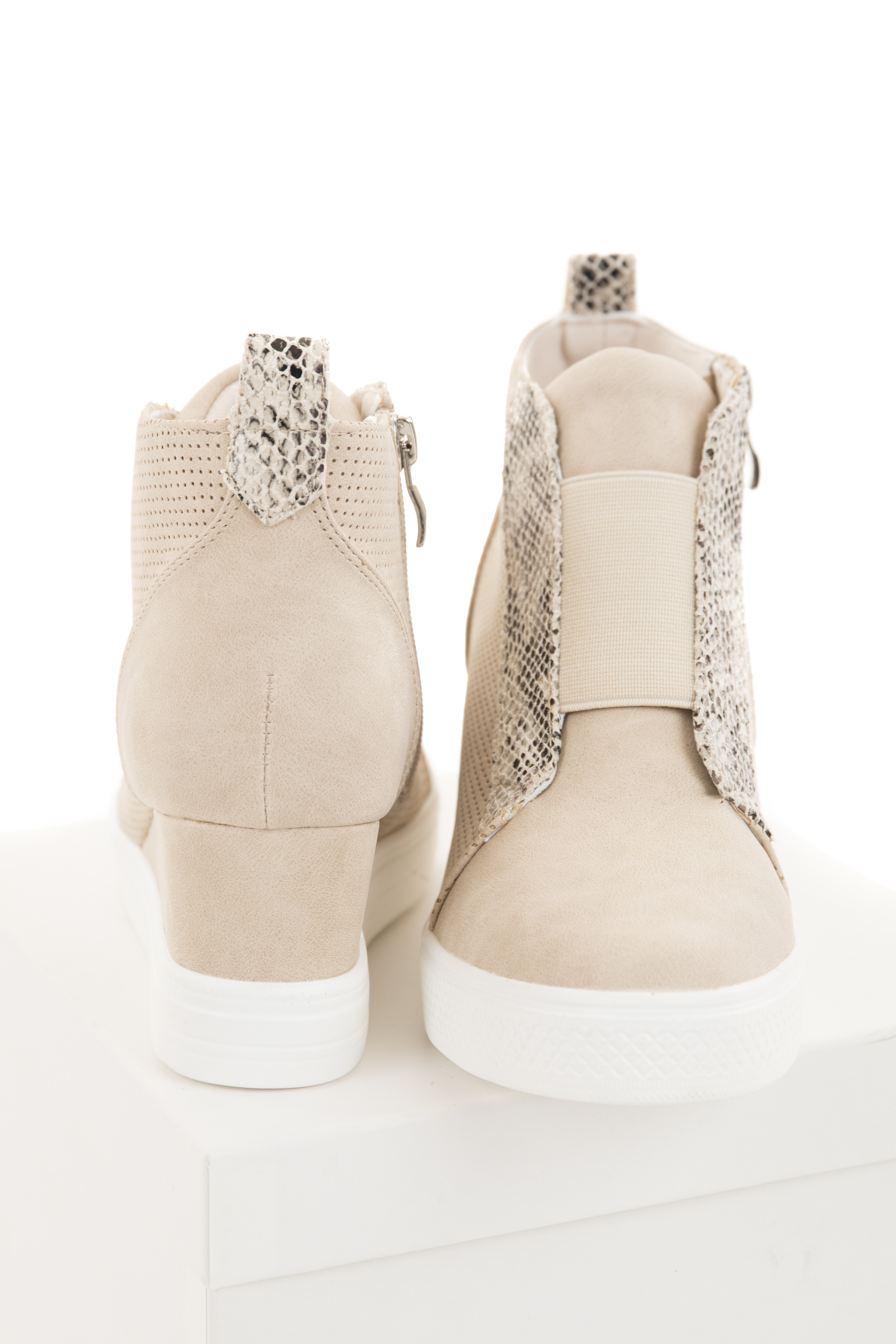 Cream and Snakeskin Textured Faux Suede Wedge Sneaker