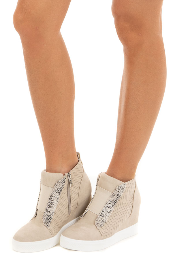 Cream and Snakeskin Textured Faux Suede Wedge Sneaker side view