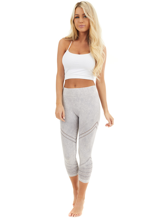 Light Grey Mineral Washed Capri Leggings with Cutout Details front full body