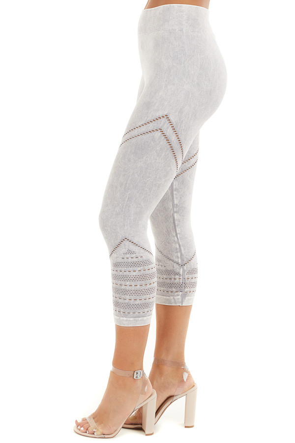 Light Grey Mineral Washed Capri Leggings with Cutout Details side view