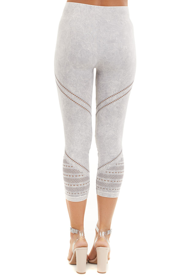 Light Grey Mineral Washed Capri Leggings with Cutout Details back view