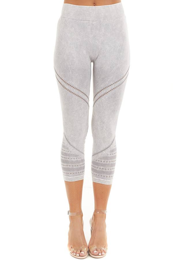 Light Grey Mineral Washed Capri Leggings with Cutout Details front view