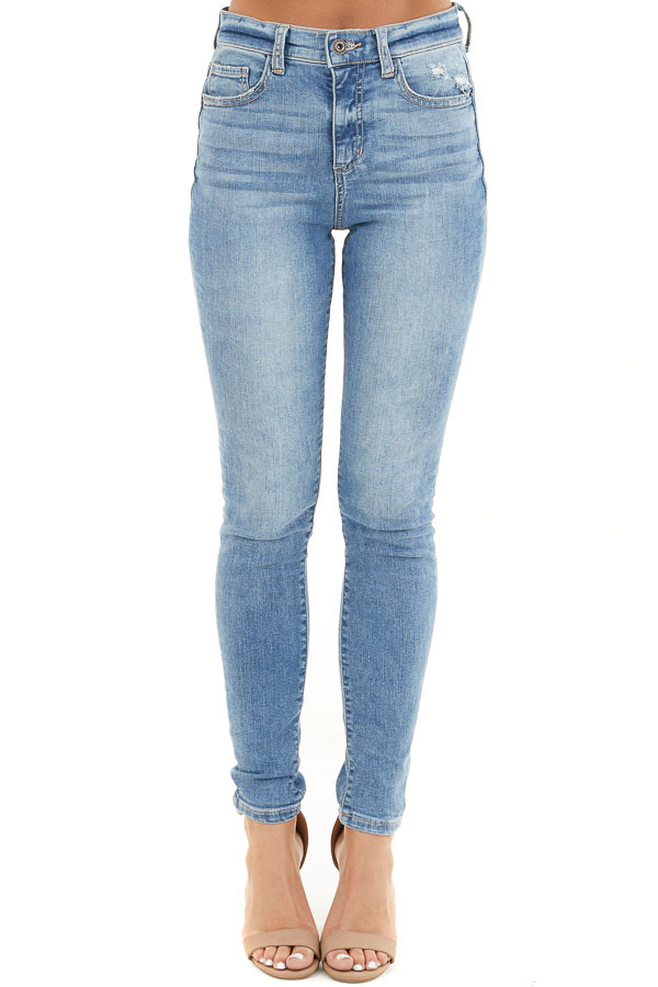 Medium Wash Lightly Distressed High Rise Skinny Jeans front view