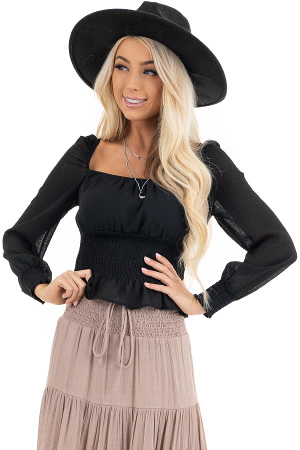 Black Long Sleeve Smocked Crop Top with Square Neckline front close up