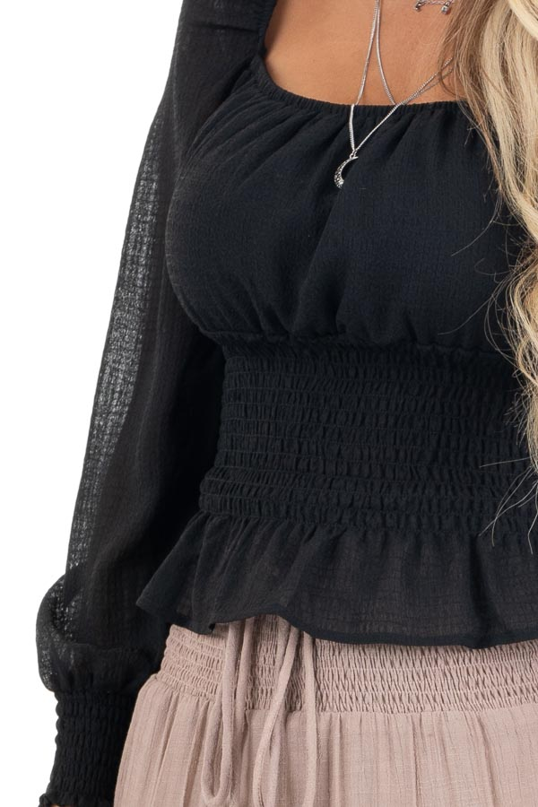 Black Long Sleeve Smocked Crop Top with Square Neckline detail