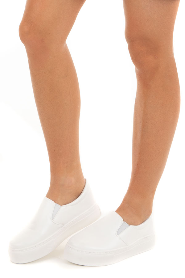 White Faux Leather Slip On Sneakers with Thick Rubber Soles side view
