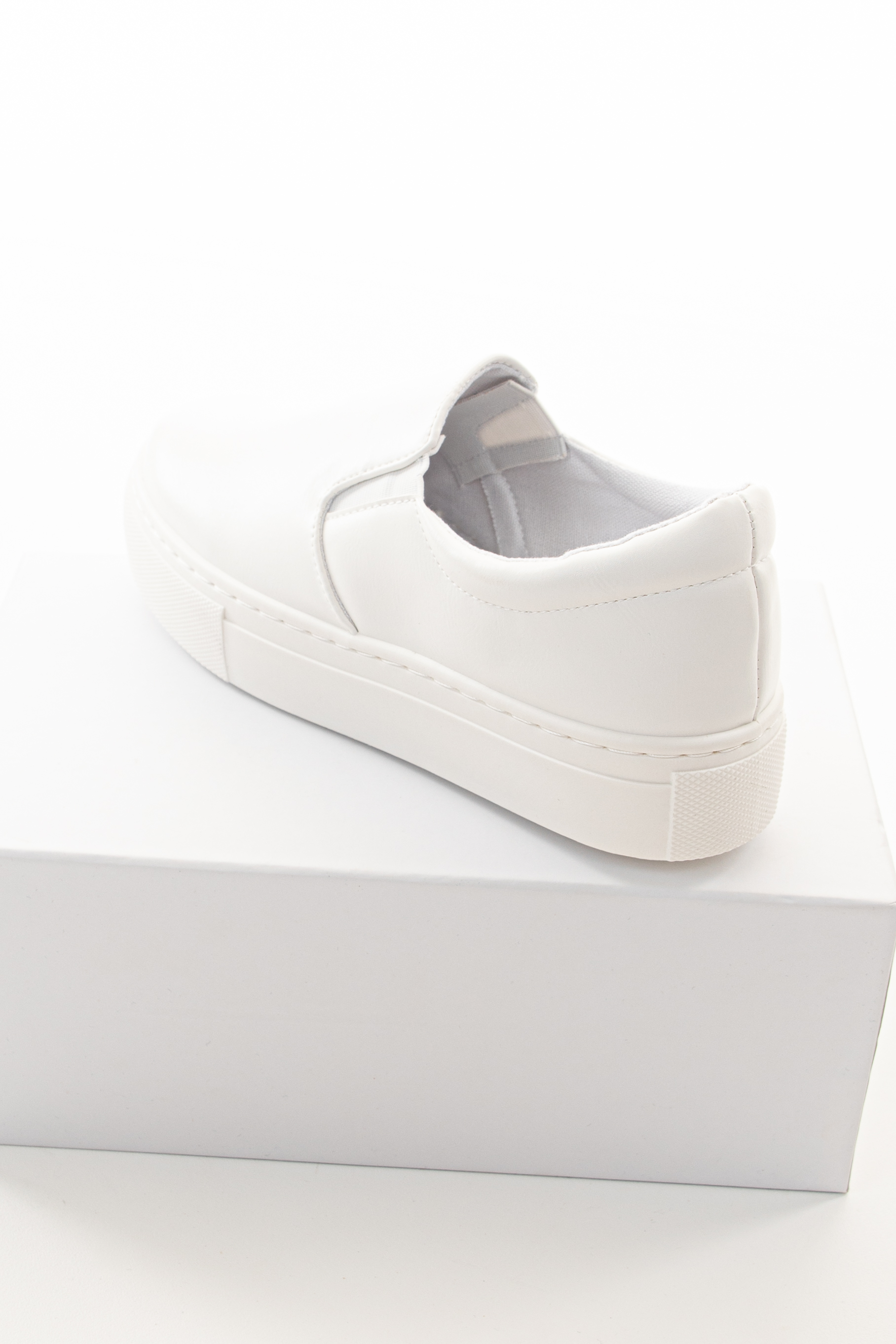 White Faux Leather Slip On Sneakers with Thick Rubber Soles