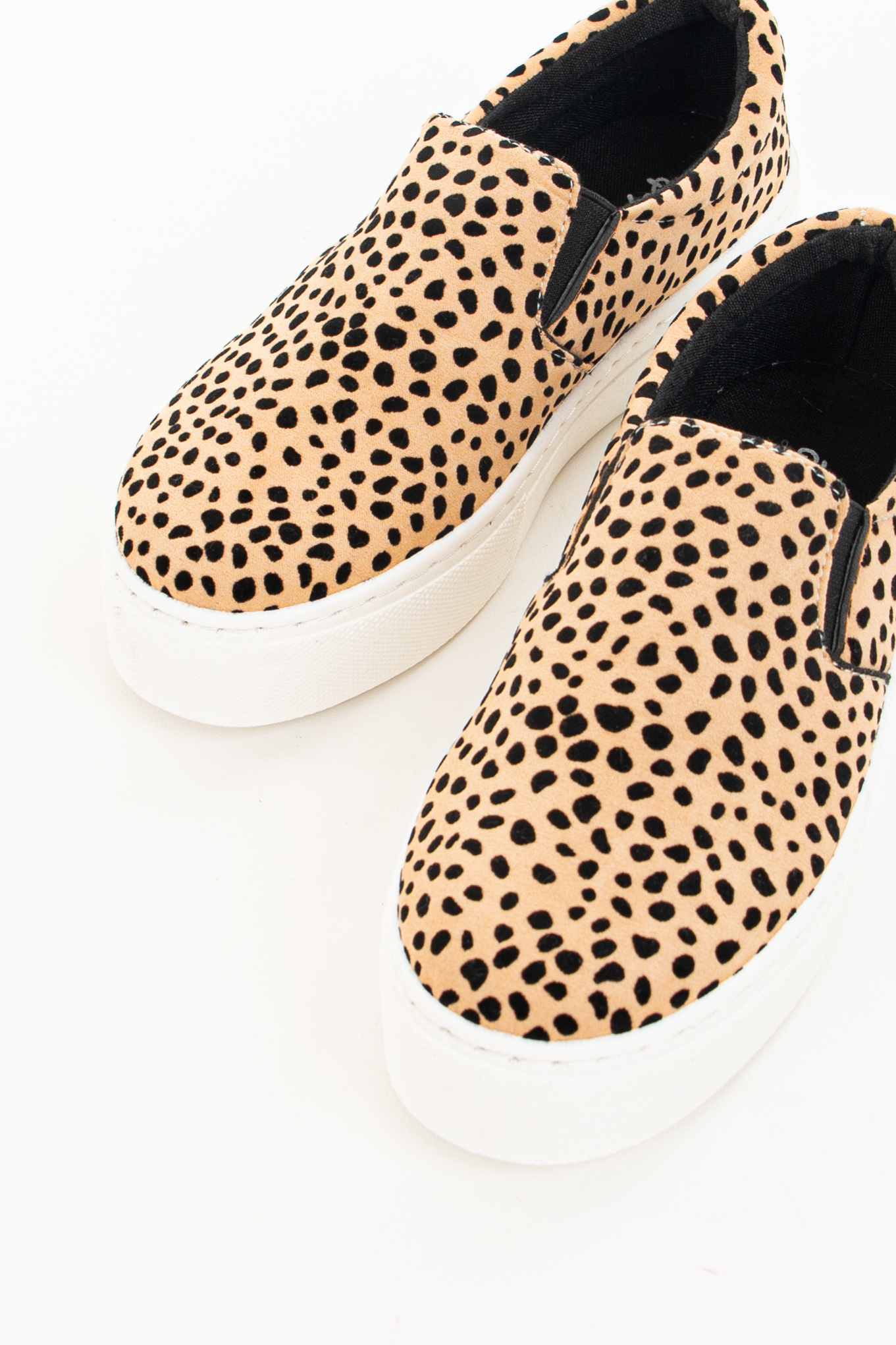 Beige Cheetah Print Faux Suede Slip On Sneakers