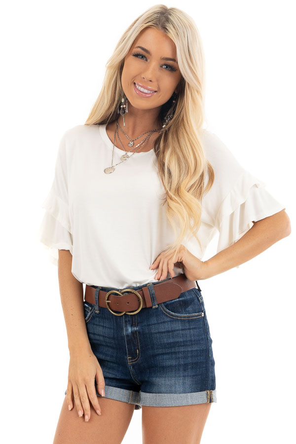 Eggshell White Knit Top with Short Layered Ruffle Sleeves front close up