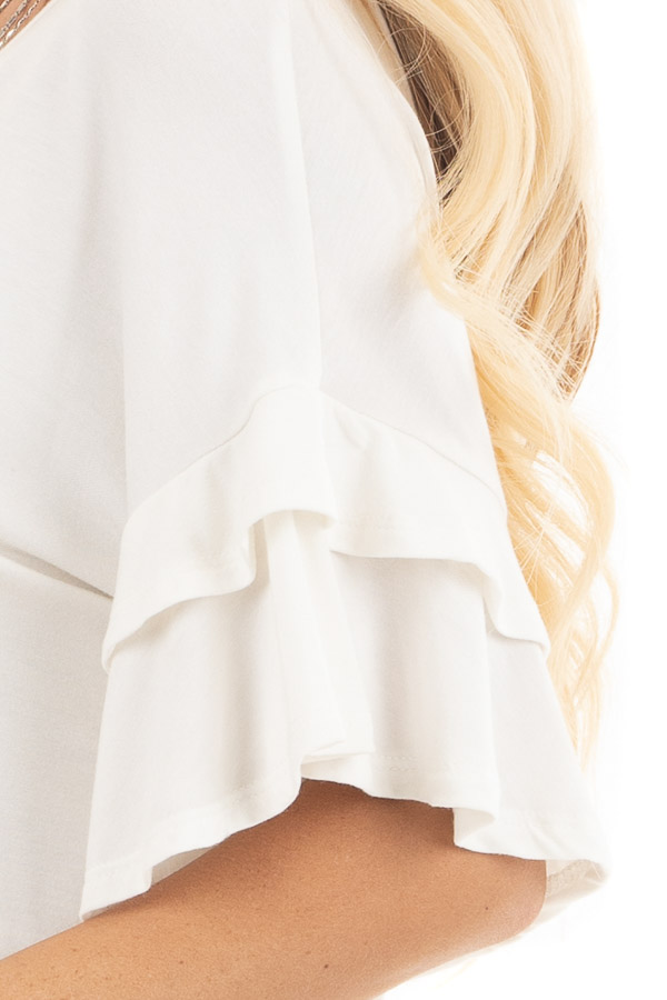 Eggshell White Knit Top with Short Layered Ruffle Sleeves detail