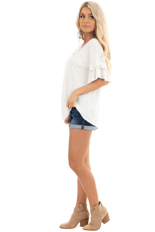 Eggshell White Knit Top with Short Layered Ruffle Sleeves side full body