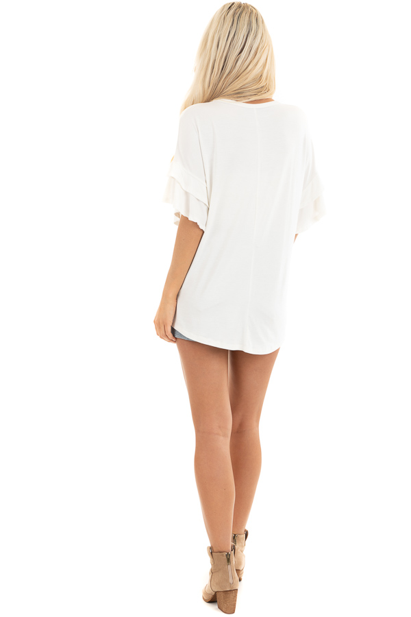 Eggshell White Knit Top with Short Layered Ruffle Sleeves back full body
