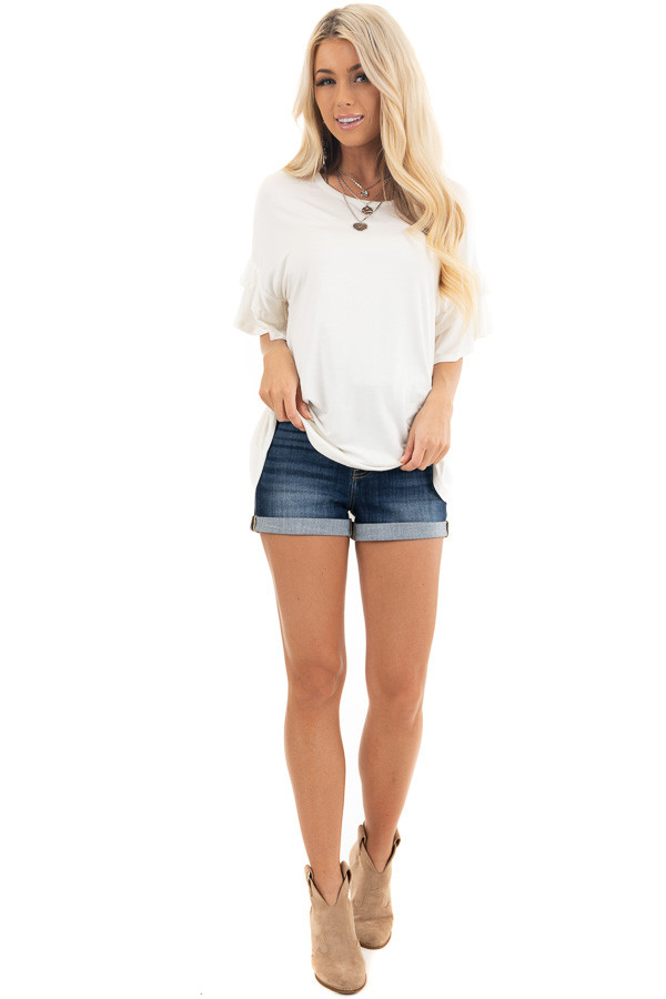 Eggshell White Knit Top with Short Layered Ruffle Sleeves front full body