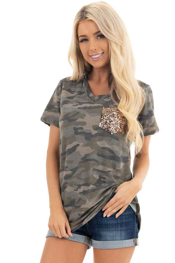 Olive Camo Print Short Sleeve Top with Gold Sequin Pocket front close up