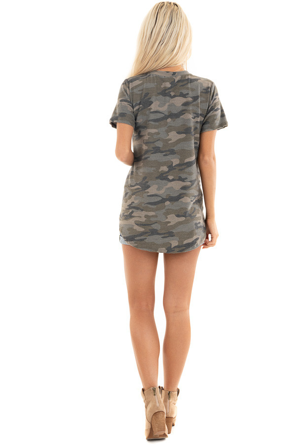 Olive Camo Print Short Sleeve Top with Gold Sequin Pocket back full body