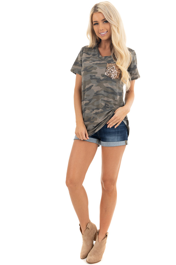 Olive Camo Print Short Sleeve Top with Gold Sequin Pocket front full body
