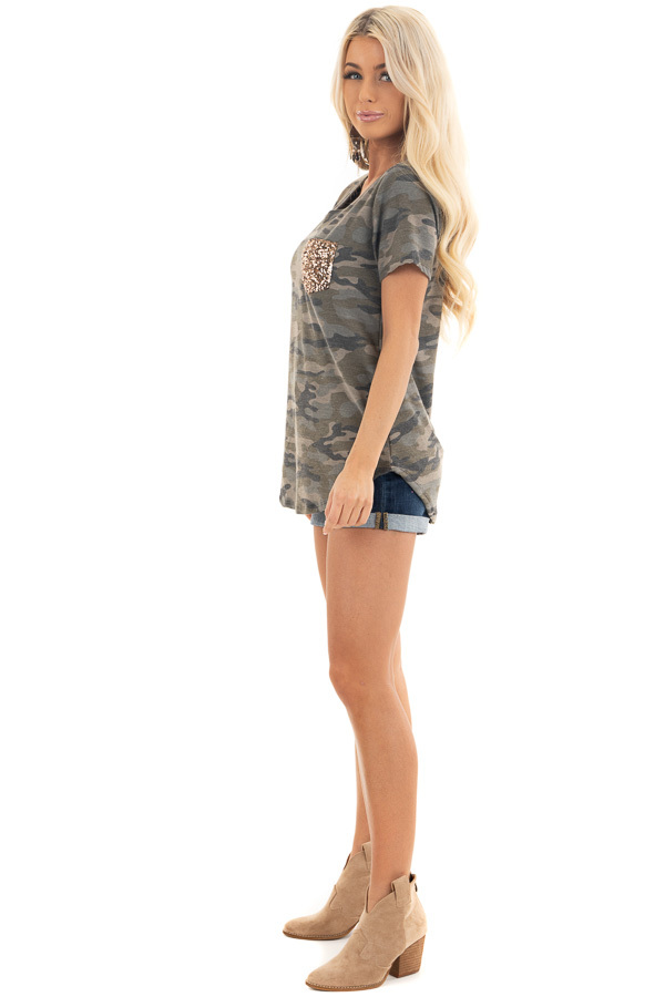 Olive Camo Print Short Sleeve Top with Gold Sequin Pocket side full body