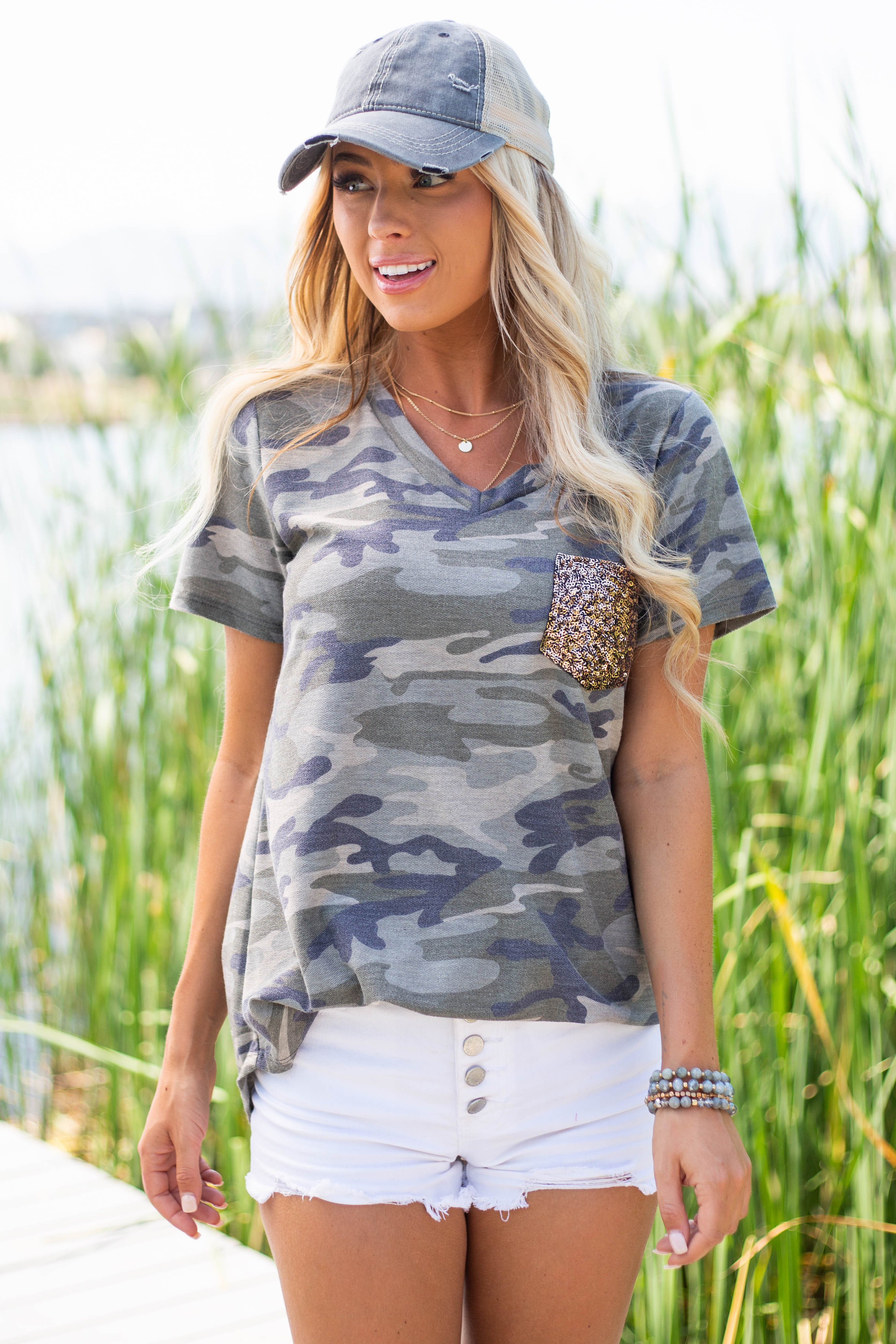 Olive Camo Print Short Sleeve Top with Gold Sequin Pocket