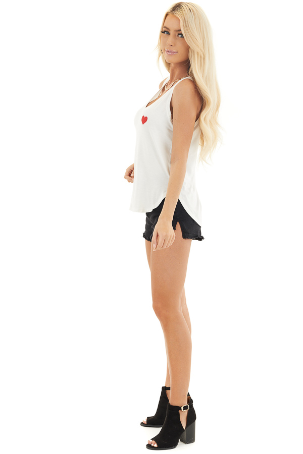 Off White V Neck Tank Top with Lipstick Red Heart Detail side full body
