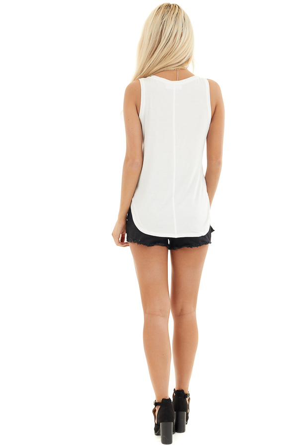 Off White V Neck Tank Top with Lipstick Red Heart Detail back full body