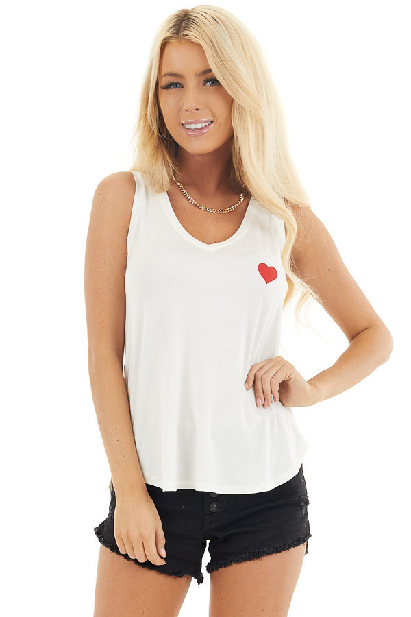 Off White V Neck Tank Top with Lipstick Red Heart Detail front close up