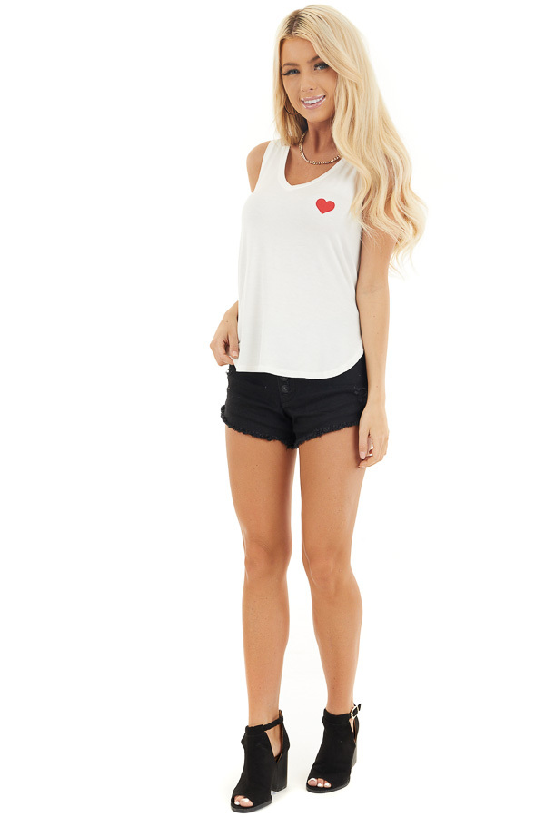 Off White V Neck Tank Top with Lipstick Red Heart Detail front full body