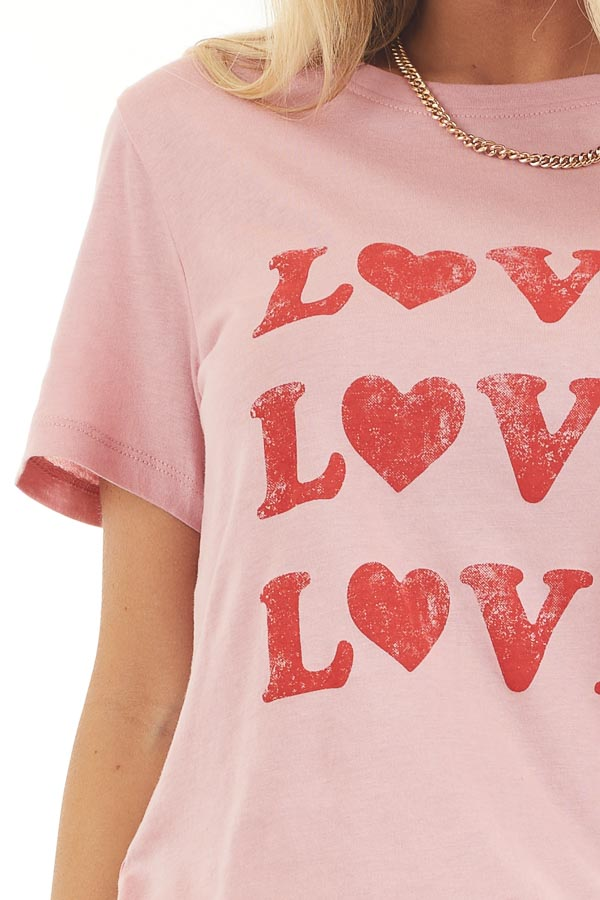 Baby Pink Short Sleeve Top with Lipstick Red 'Love' Print detail