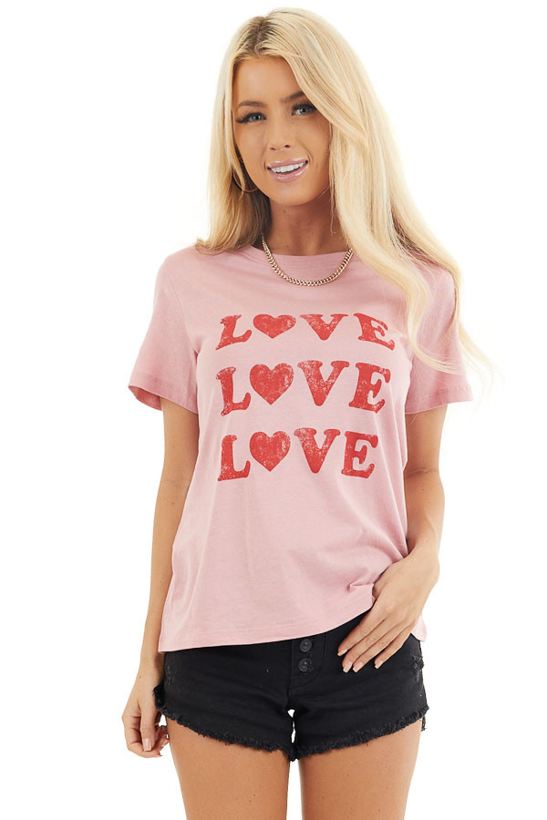 Baby Pink Short Sleeve Top with Lipstick Red 'Love' Print front close up