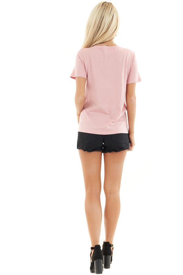 Baby Pink Short Sleeve Top with Lipstick Red 'Love' Print back full body