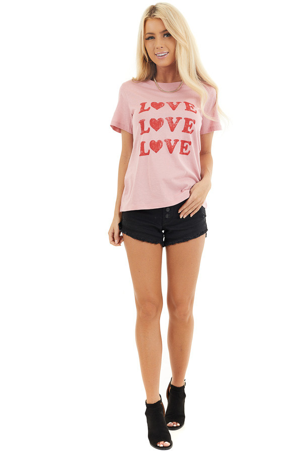 Baby Pink Short Sleeve Top with Lipstick Red 'Love' Print front full body