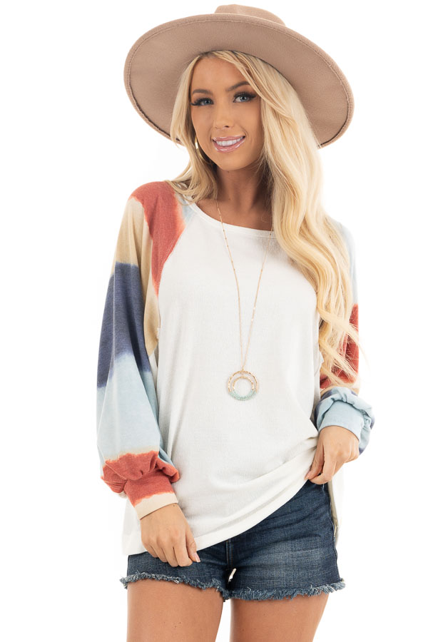 Ivory Soft Knit Top with Multi Colored Long Batwing Sleeves front close up