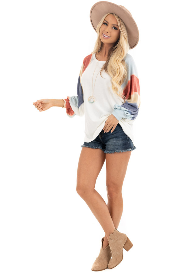 Ivory Soft Knit Top with Multi Colored Long Batwing Sleeves front full body